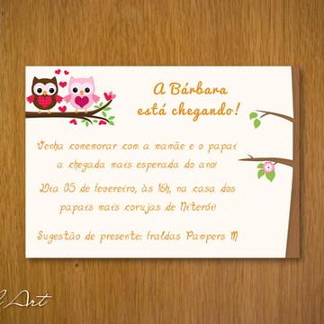 Convite Chá de Bebê Corujinhas Menina