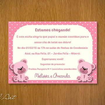 Convite Chá de Bebê Ursinho Gêmeas