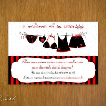 e82c22dbd Convite Chá de Lingerie Vermelho e Preto