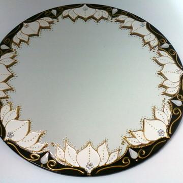 Espelho Flor de Lótus Branca 30cm