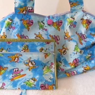 bolsa toalha e toalhinha de mão c/ ziper