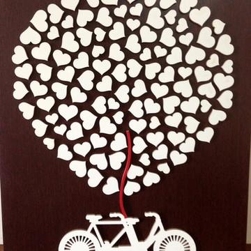 Quadro Assinatura Casamento - Balão Bike