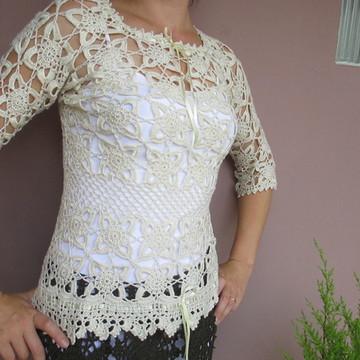 c82fd473db blusa de crochê Pérola