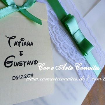 Convite Vintage - Verde e Palha