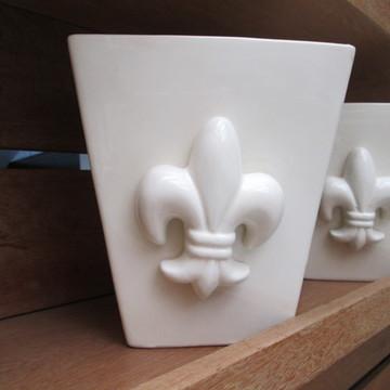 Vaso Cachepot em Cerâmica na Cor Cru