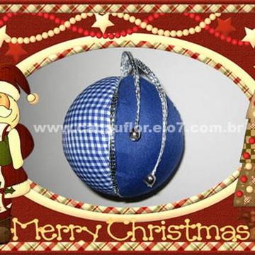 """Bola de Natal - Tecido Azul - """"M"""""""