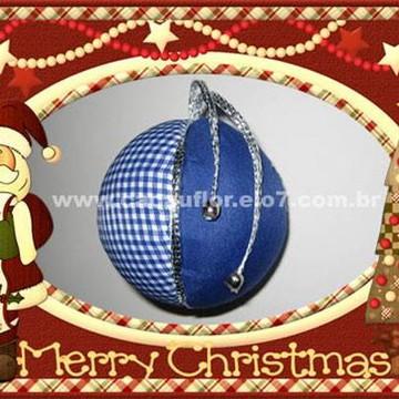 "Bola de Natal - Tecido Azul - ""P"""