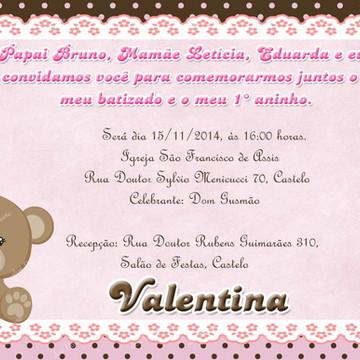 Convite ursinha marrom e rosa