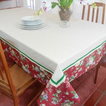 Toalha de Mesa Retangular Cor palha barrado floral