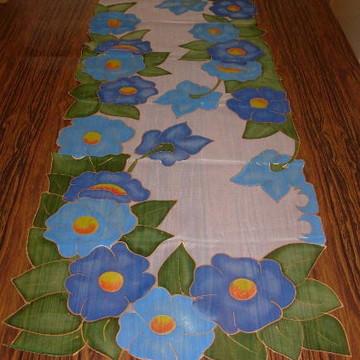 Caminho de Mesa Flores Azuis