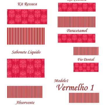 rótulos impressos kit banheiro vermelhos