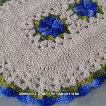 Tapete Cru com Flores na cor azul