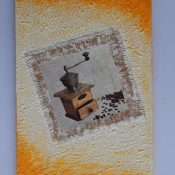 Decoração cozinha quadro moedor de café
