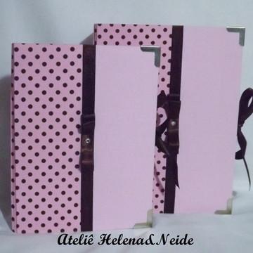 Caixa e Álbum Rosa e Marrom