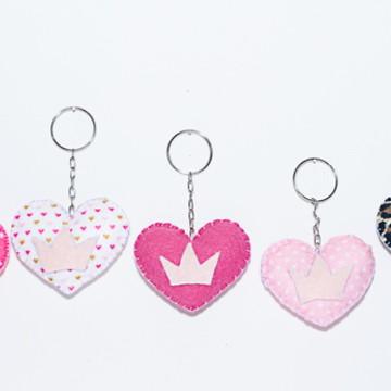Mini Chaveiro de Coração em Feltro
