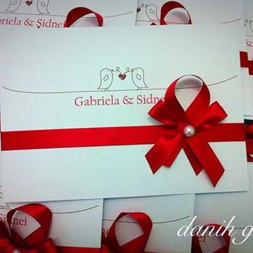 Convite de Casamento Love Birds vermelho