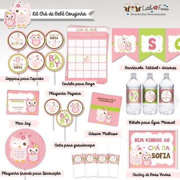 Kit Chá de Bebê Digital Corujinha