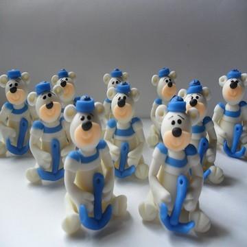 Aplique Urso Marinheiro de biscuit