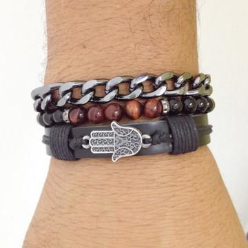 Kit pulseiras masculinas Hamsa