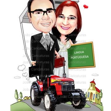 Linda caricatura casamento casal professora agrônomo trator