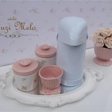 Kit Higiene Rosas floral com garrafa