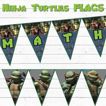 Bandeirolas IMPRESSAS Tartarugas Ninja