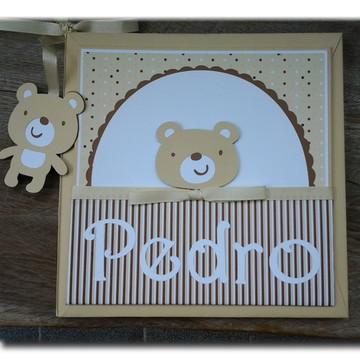 livro diário do bebê personalizado menino ursinho neutro