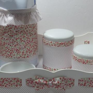 Kit Higiene Potes Cerâmica Vermelho