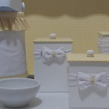 Kit Higiene Xadrez Amarelo