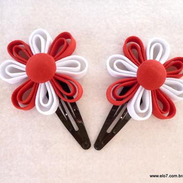 Par de Flores Vermelho e Branco