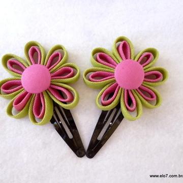 Par de Flores Pink e Verde