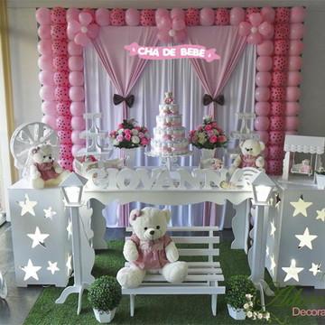 Aluguel Decoração Chá de Bebê Rosa Poá Ursinhas Tema Menina