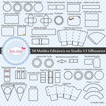 50 moldes editáveis Studio V3 Silhouette