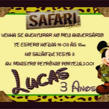 convite de aniversario do mickey safari