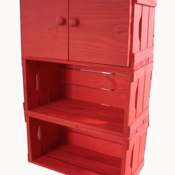 Estante 3 caixotes com uma porta