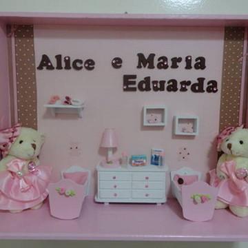 Porta Maternidade Gêmeos Marrom e Rosa