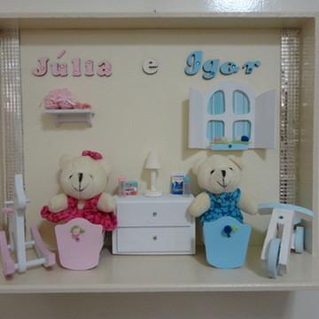 Porta Maternidade Gêmeos Faixa Espelhada