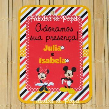 Tag para lembrancinha Mickey e Minnie