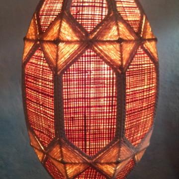 luminaria de palha com linha