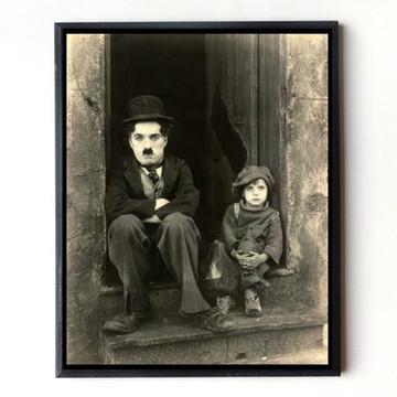 Quadro Charles Chaplin O Garoto (sépia)