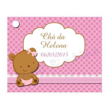 Tag Chá de Bebê marrom e rosa