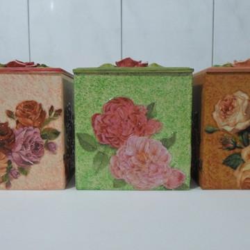 Conjunto de potes decorado em mdf