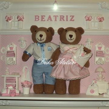 Enfeite porta maternidade família urso