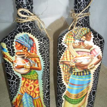 Garrafas em craquelê decorada Africanas