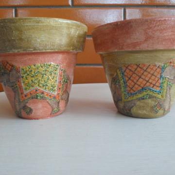 Vasinhos de cerâmica elefante
