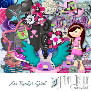 Kit Scrapbook Digital Rocker Girl