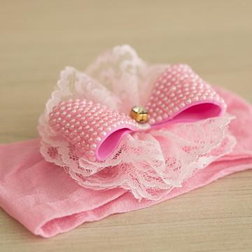 Faixa de Cabelo Rosa com Laço