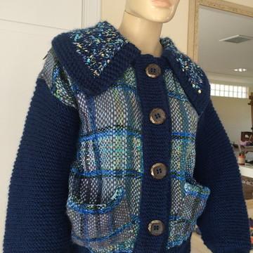 Jaqueta em tear e trico(fios importados)