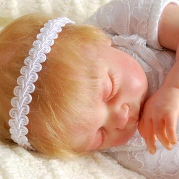 Headband baby BATISMO em renda branca