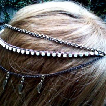head chain tiara boho gipsy ouro velho
